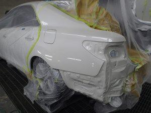 『これ板金ですか???』マークX リヤバンパー交換、左リヤフェンダー板金塗装、左テールライト交換