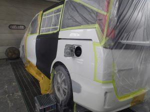 エスクァイア 左スライドドア交換・リヤバンパー修理塗装